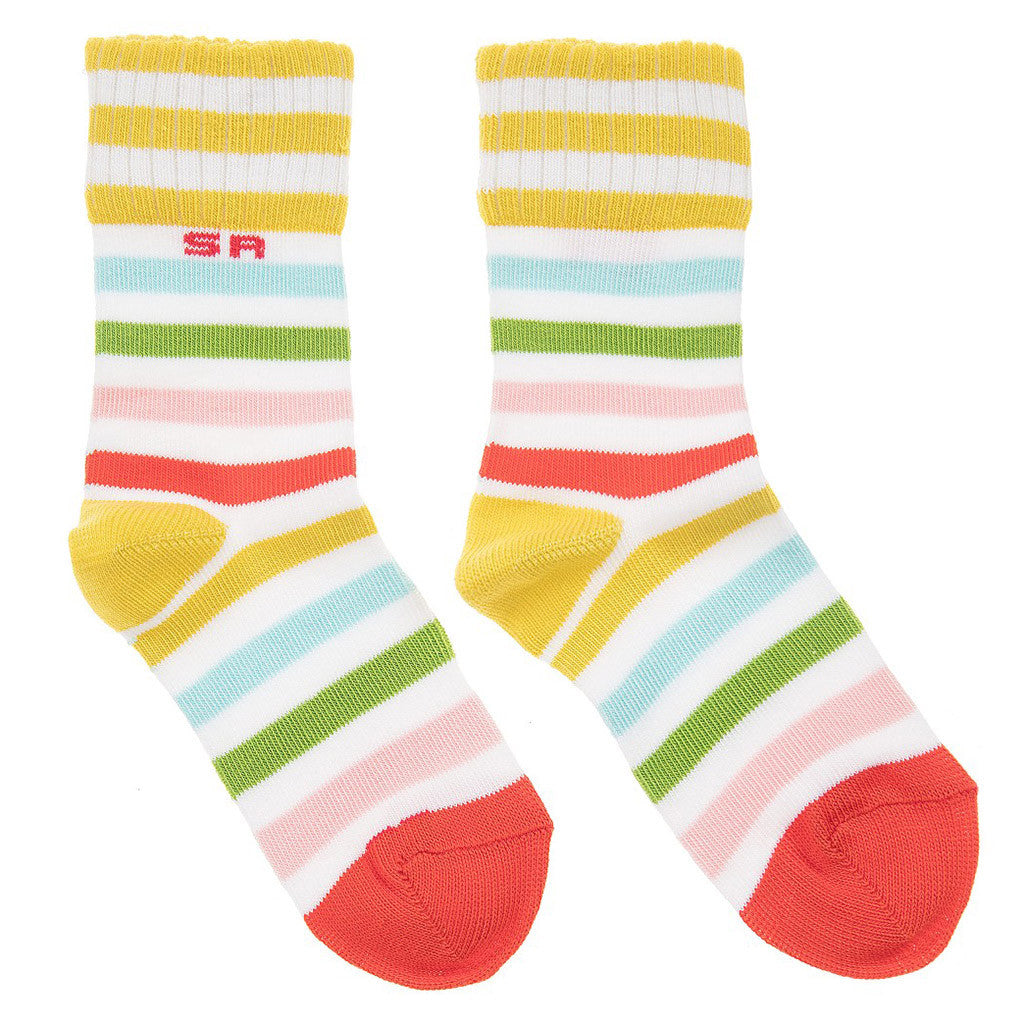Multi Striped White Socks