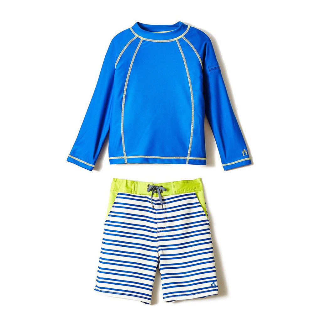 Navy Stripe Print Swim Shorts Rashguard Set