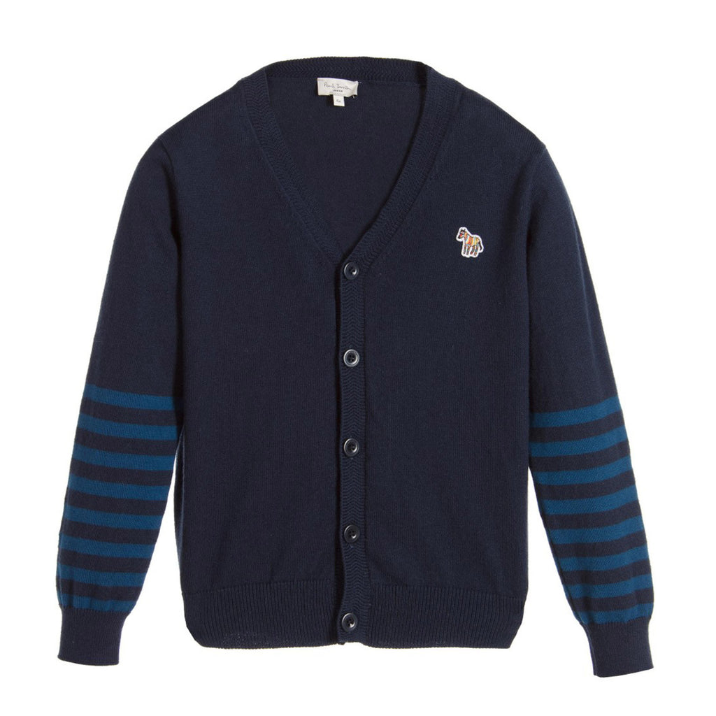 Boys Striped Navy Cardigan