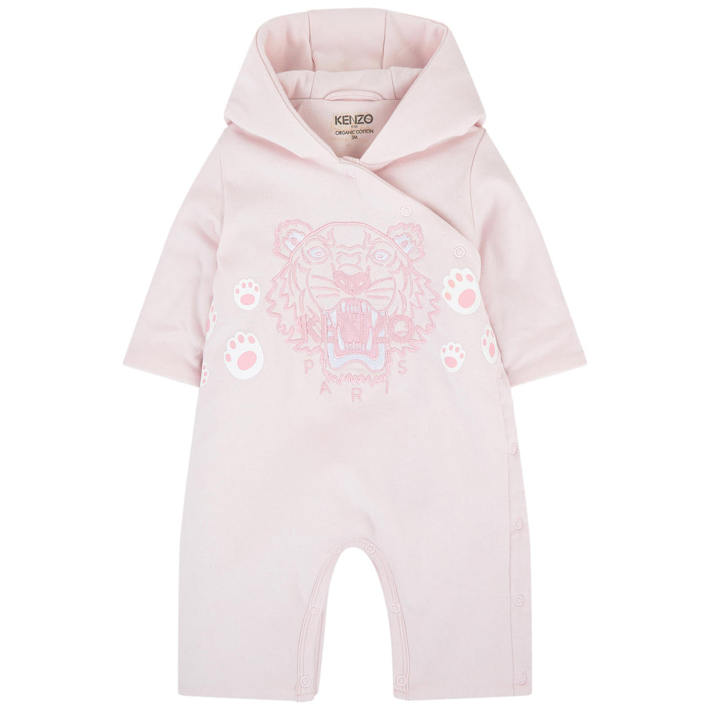 Baby Hooded Embroidered Tiger Playsuit- Pink