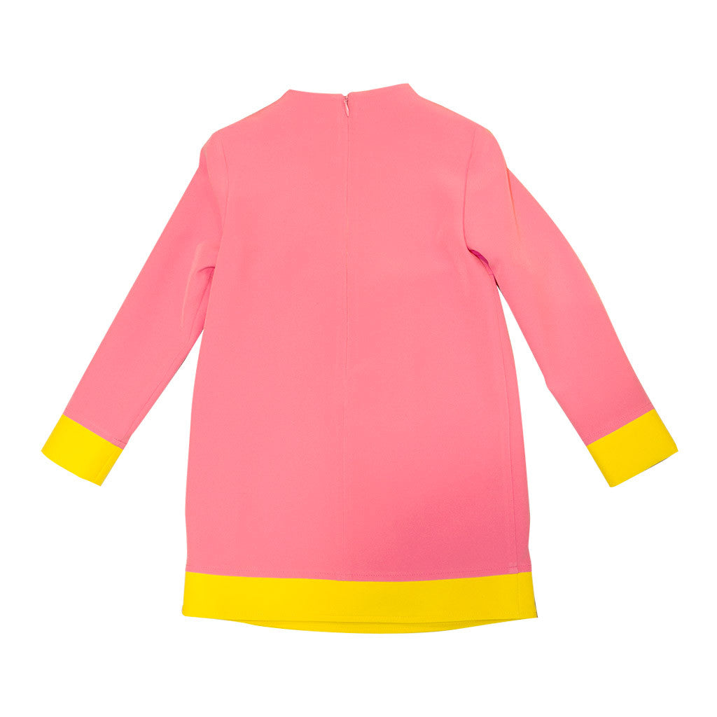 Pink and Yellow Color Block Dress