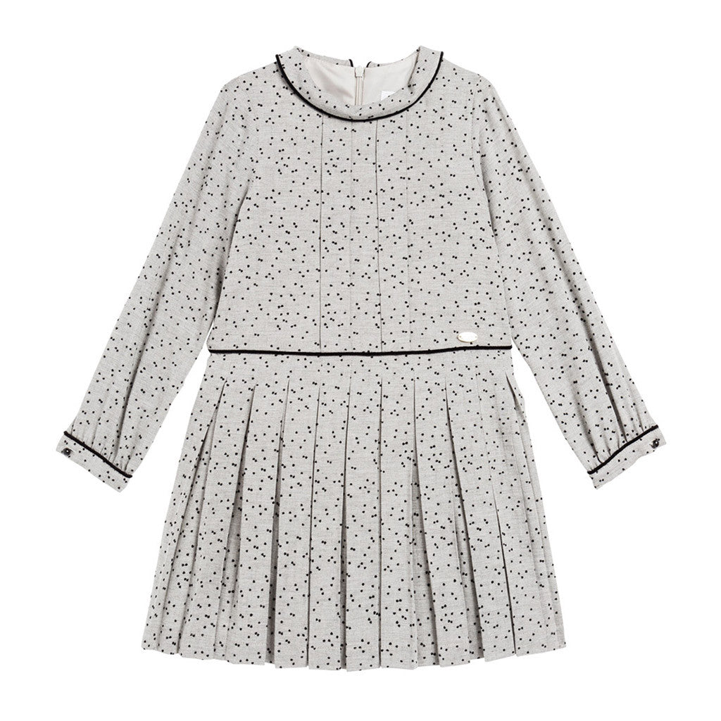 Polka-dotted Flocked Dress with Collar