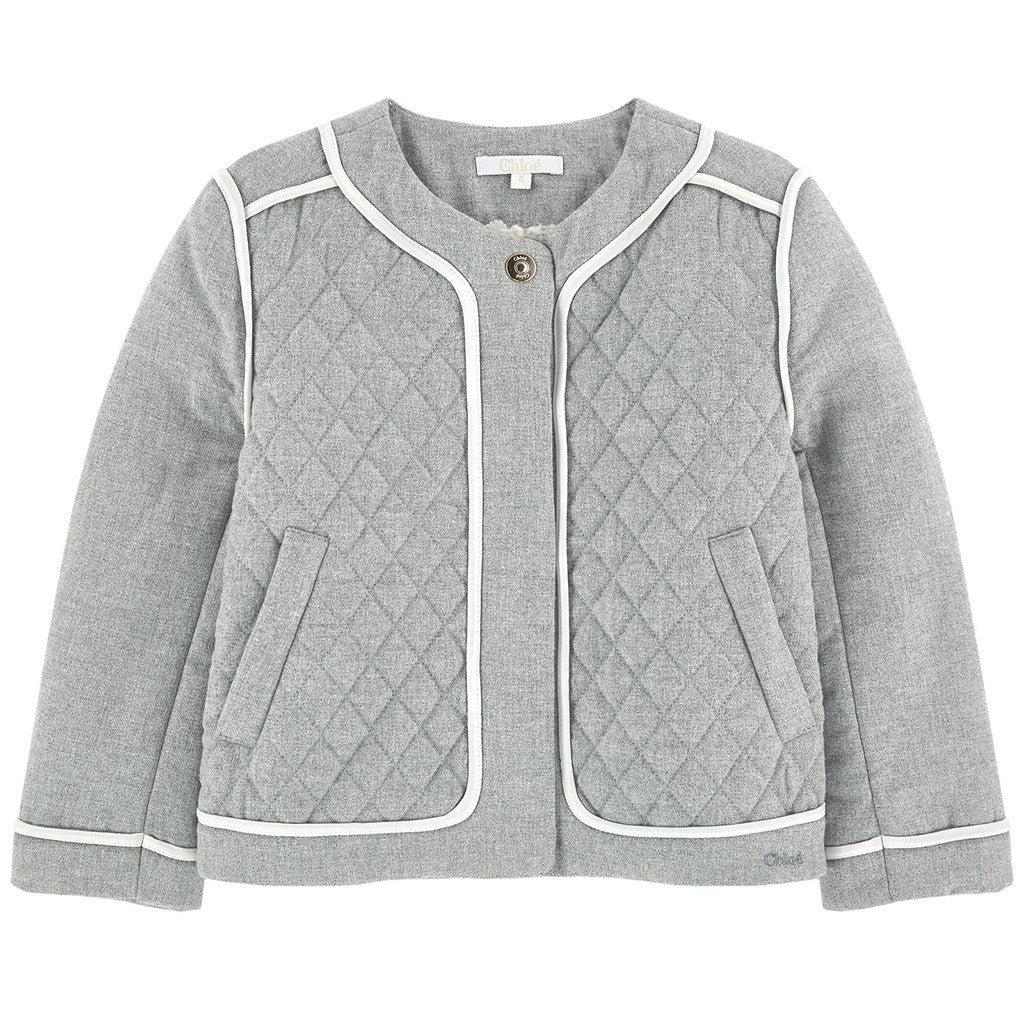 Quilted Jacket w/ Piping Details Gray