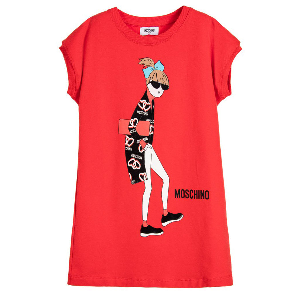 Red Cotton Sweatshirt Dress with Girl Print