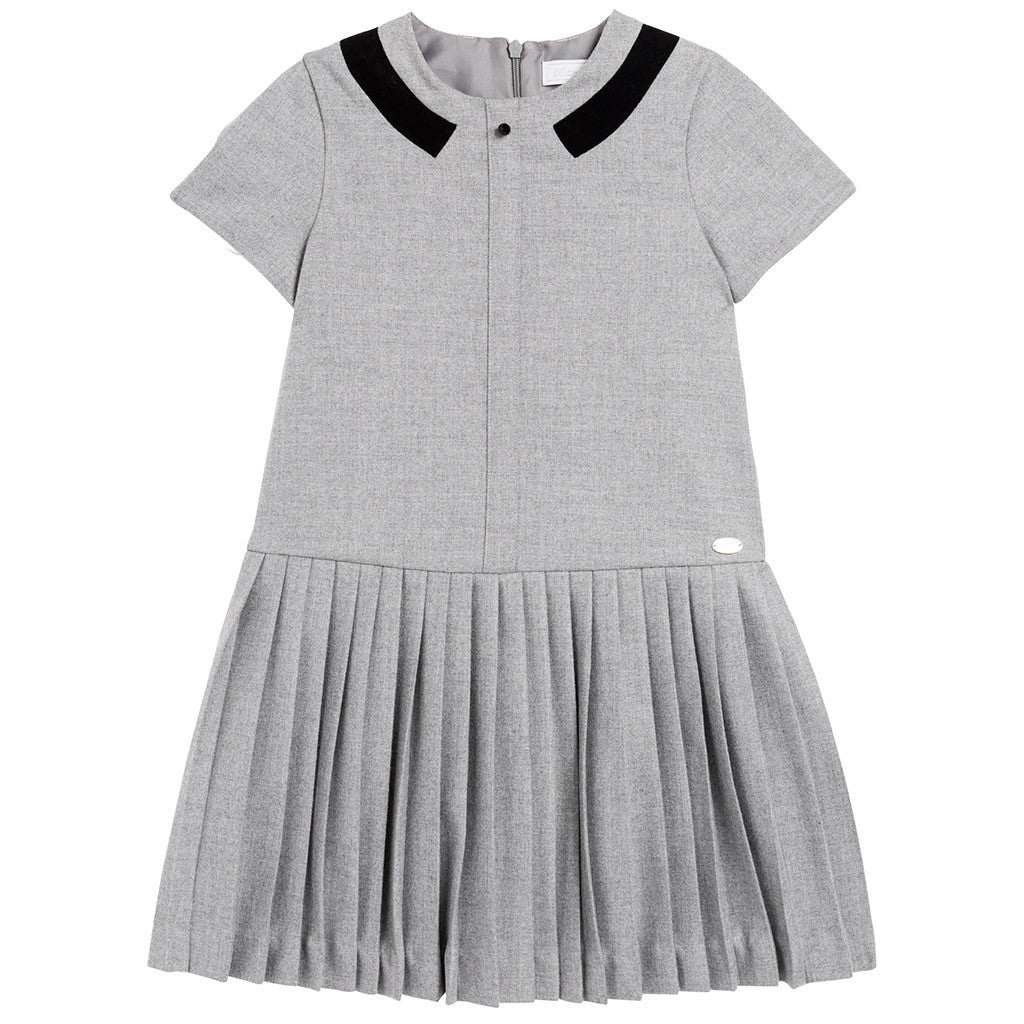 Robe Dress w/ Pleated Skirt Gray