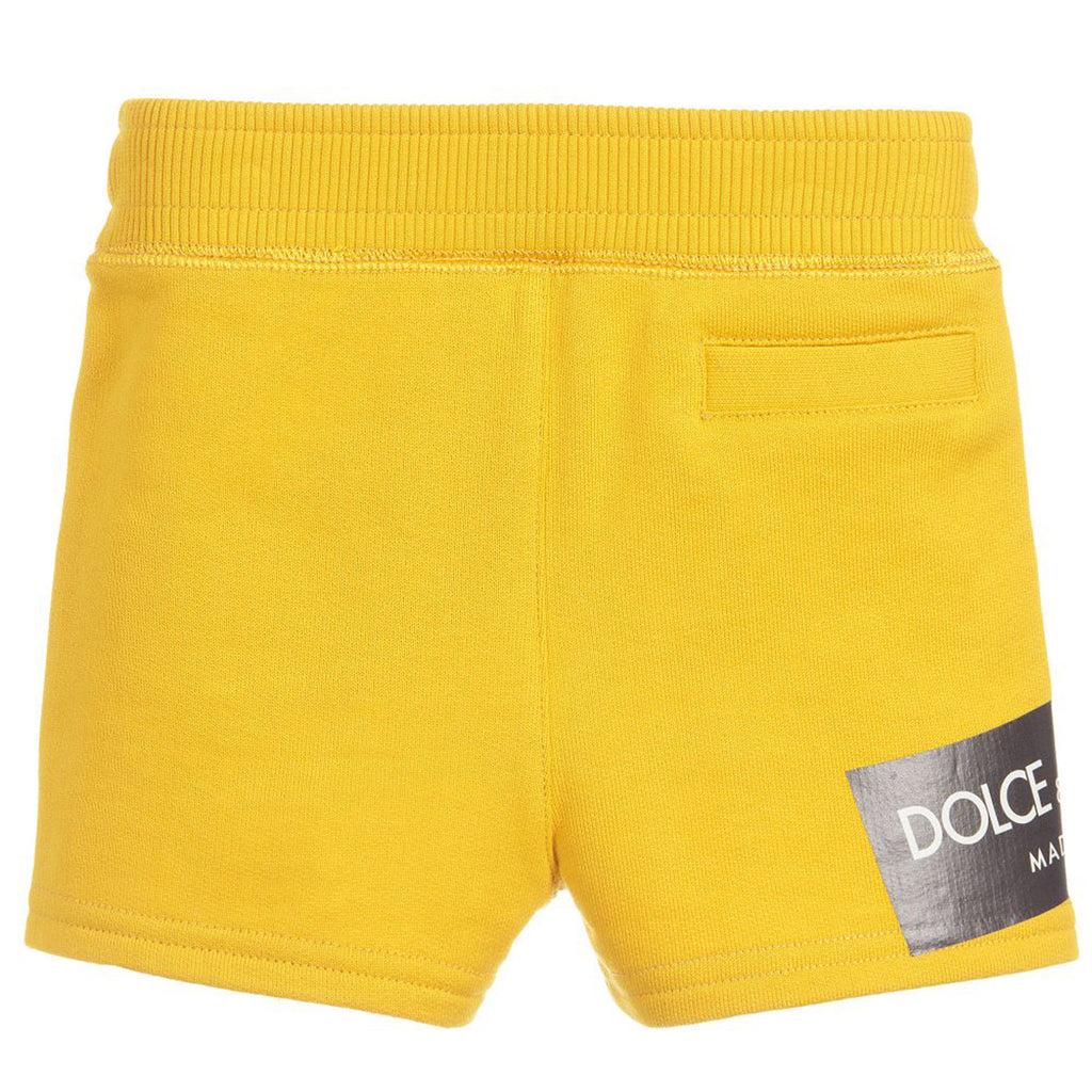 Baby Boys Yellow Logo Drawstring Shorts