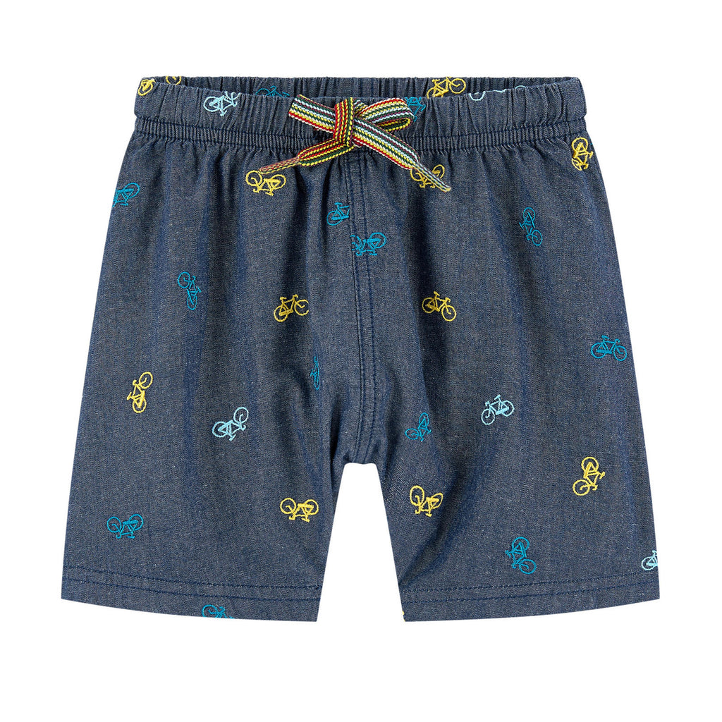 Baby Boys Denim Embroidered Shorts