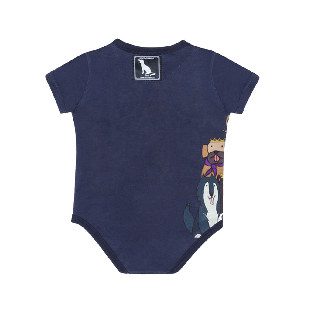 Blue Baby Dog Print Onesie