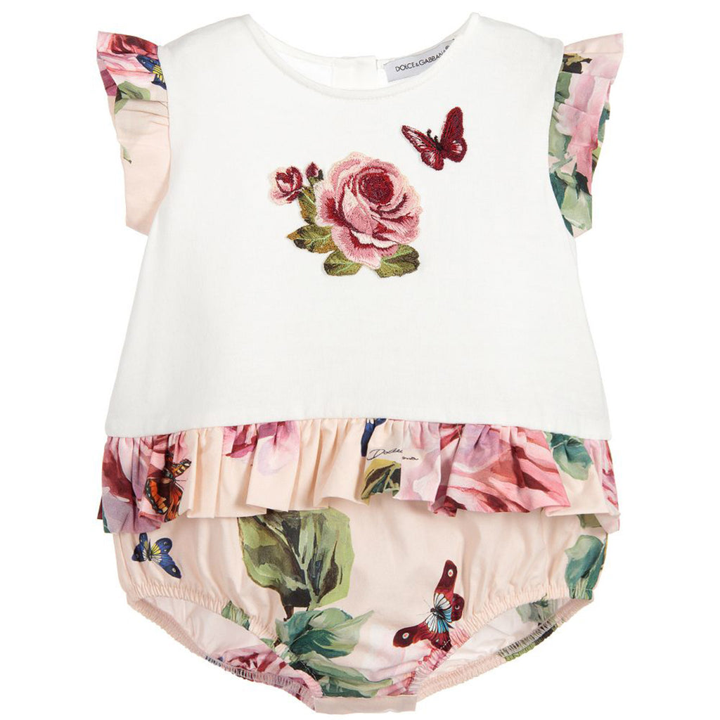 Baby Girl Embroidered 'Rose' Print Onesie