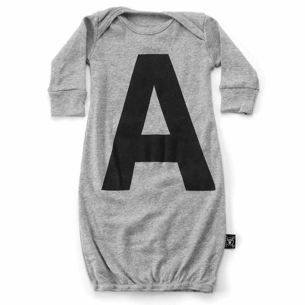 Baby Long Sleeve 'A' Sleep Gown- Gray