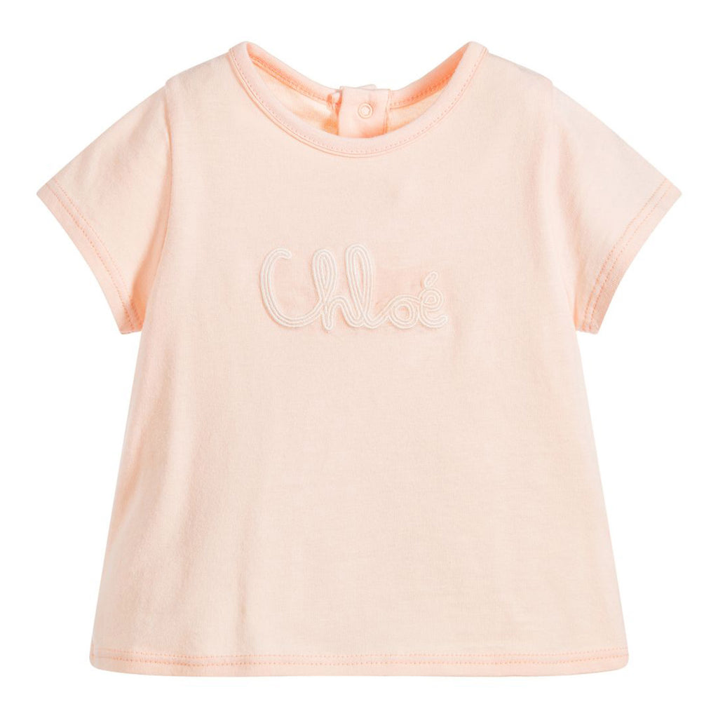 Baby Pink Embroidered Logo T-Shirt