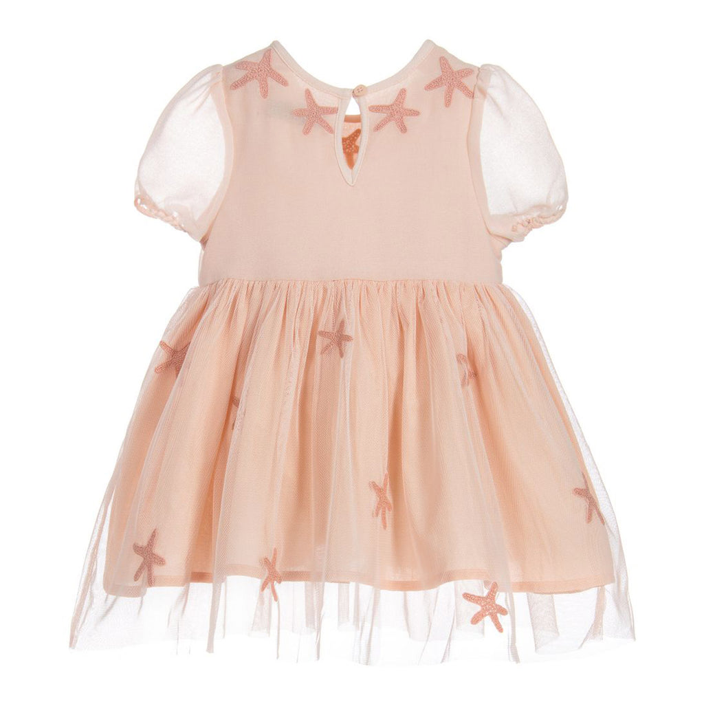 Baby Pink Star Patched Dress with Bloomers