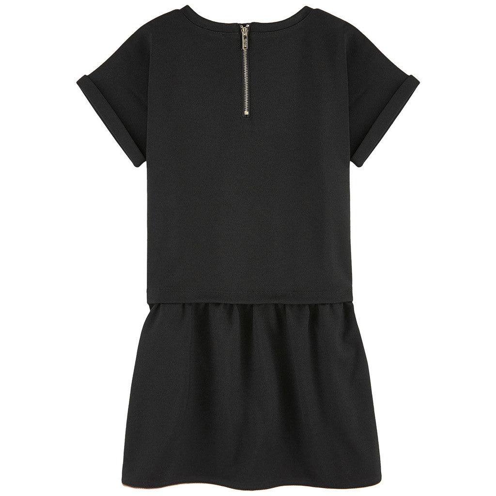 Short Sleeves Milano Dress w/ Karl and Choupette Print Black