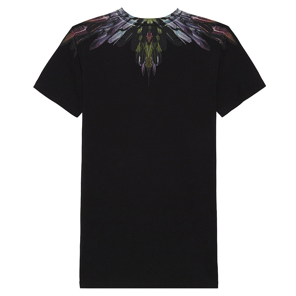 Short Sleeves T-Shirt w/ Colorful Upper Design Black
