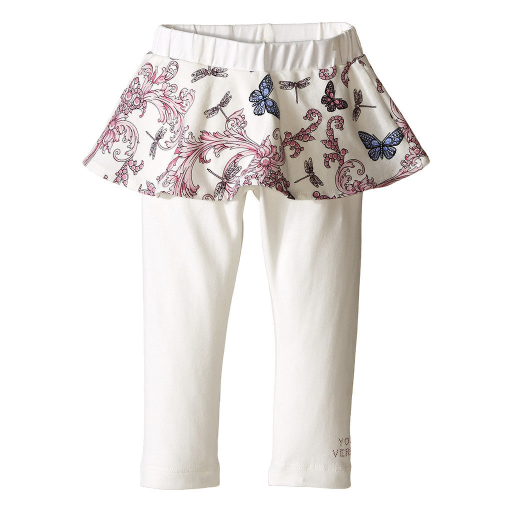 Skirted Pants w/ Butterfly Print White