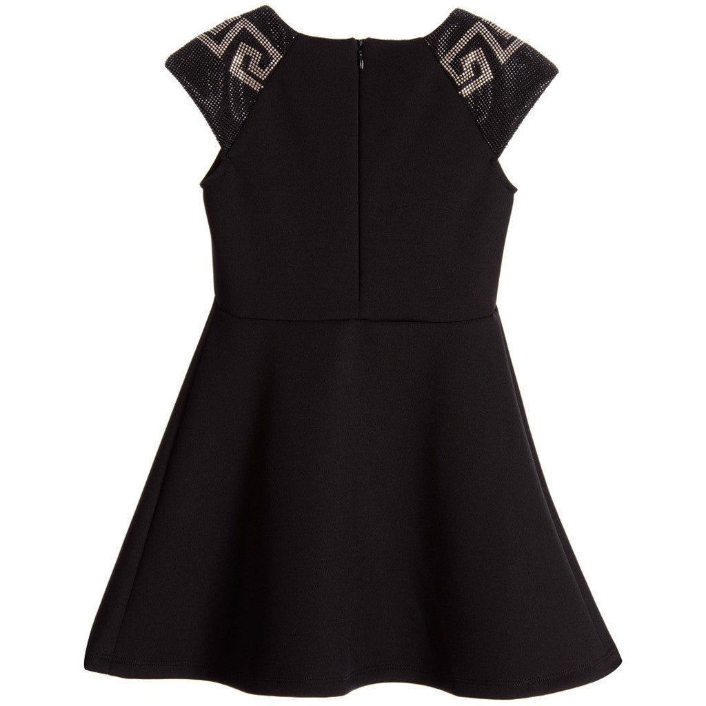 Sleeveless Dress w/ Greca Shoulder Detail Black