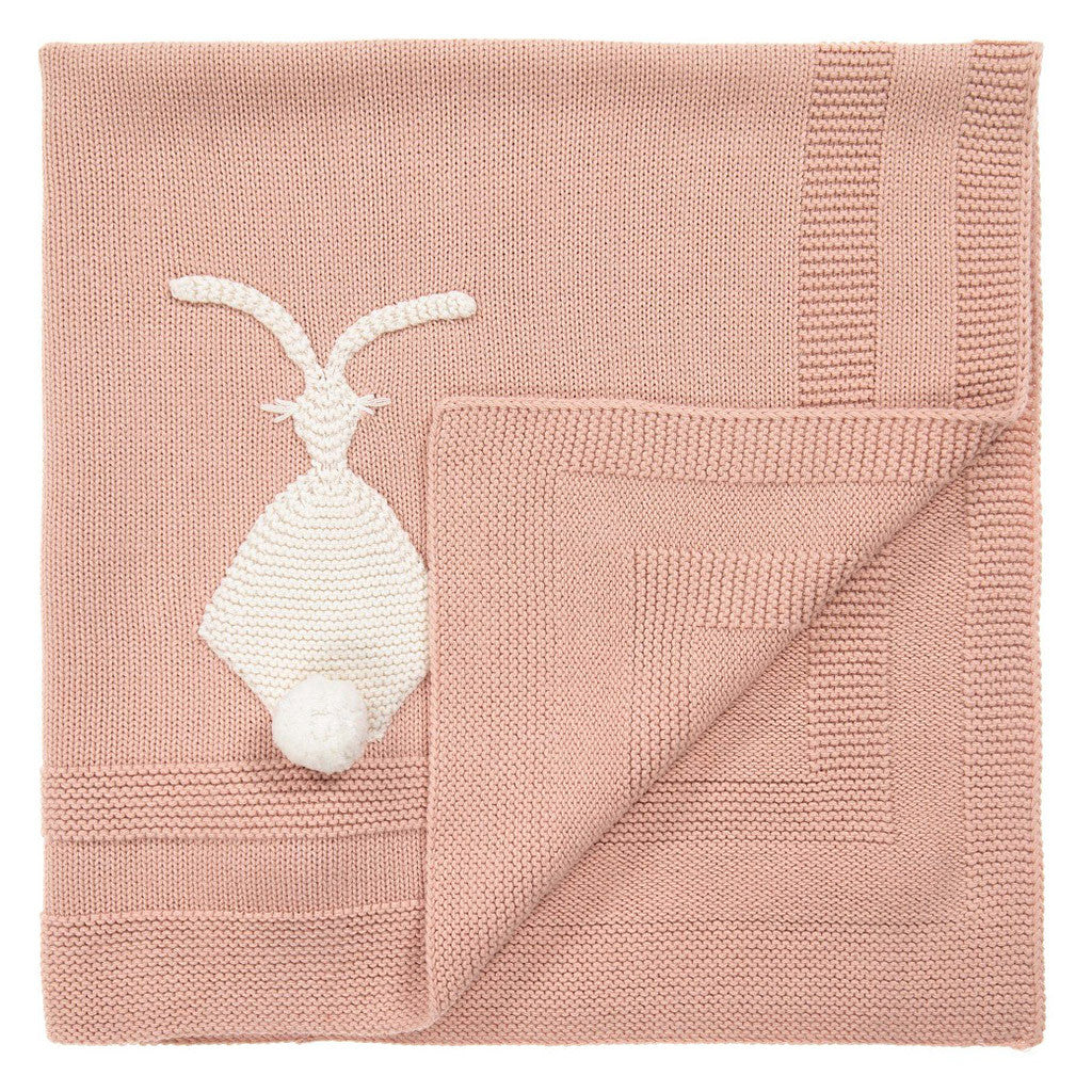 Snowball Bunny Knit Pink Blanket