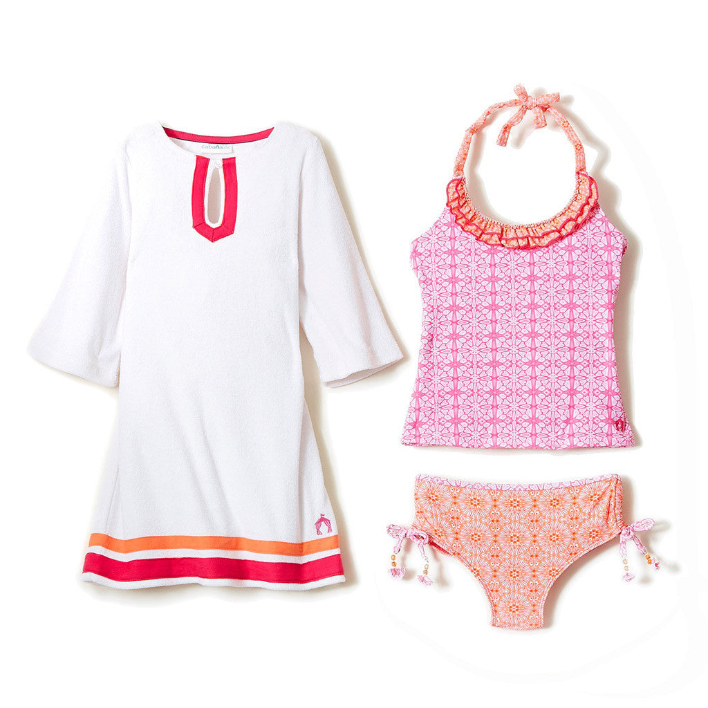 Spring Blooms Swimsuit and Terry Cover Up Set