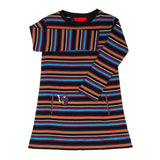 Striped A-Line Dress w/ Reading Cat Detail Multi-Colors