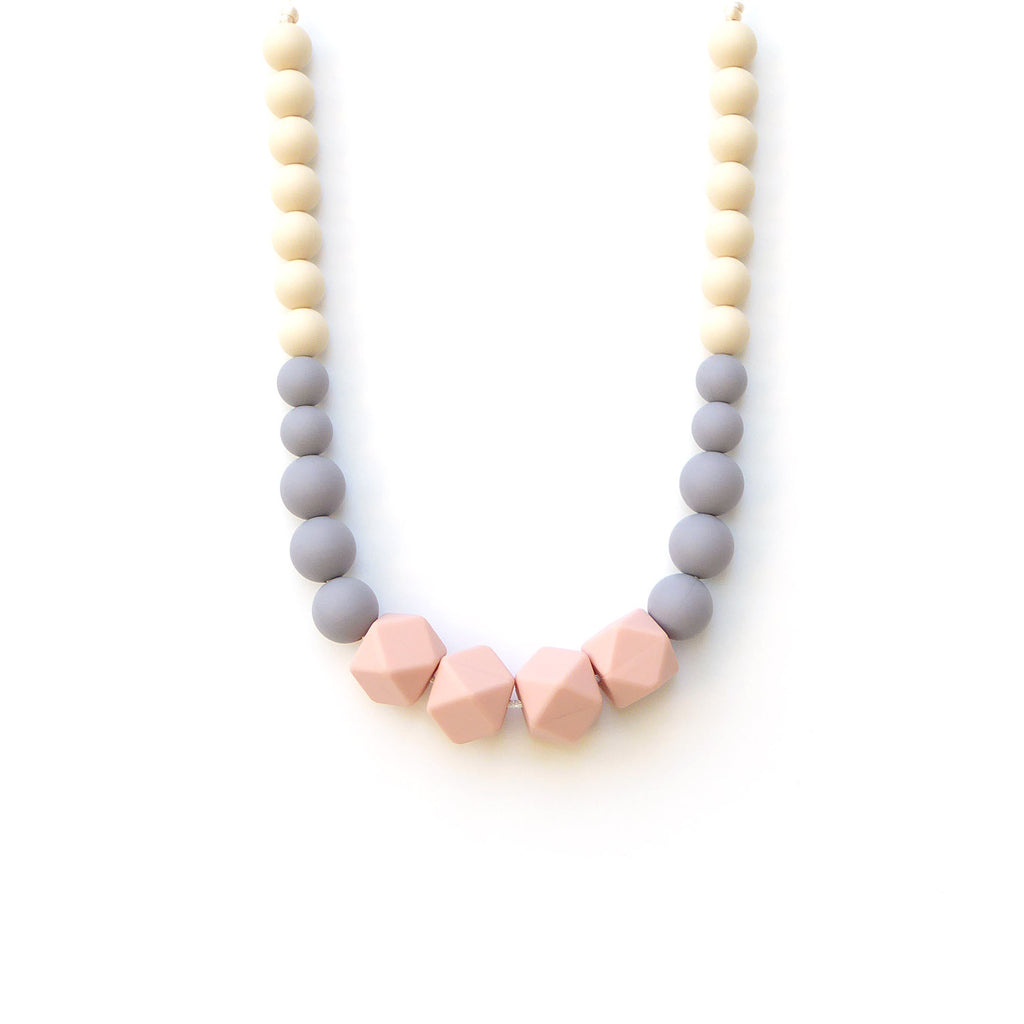 Silicone Teething Necklace- Peach Gray
