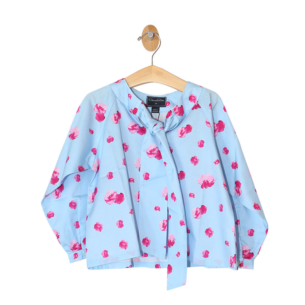 Watercolor Fleur Cotton Bow Blouse