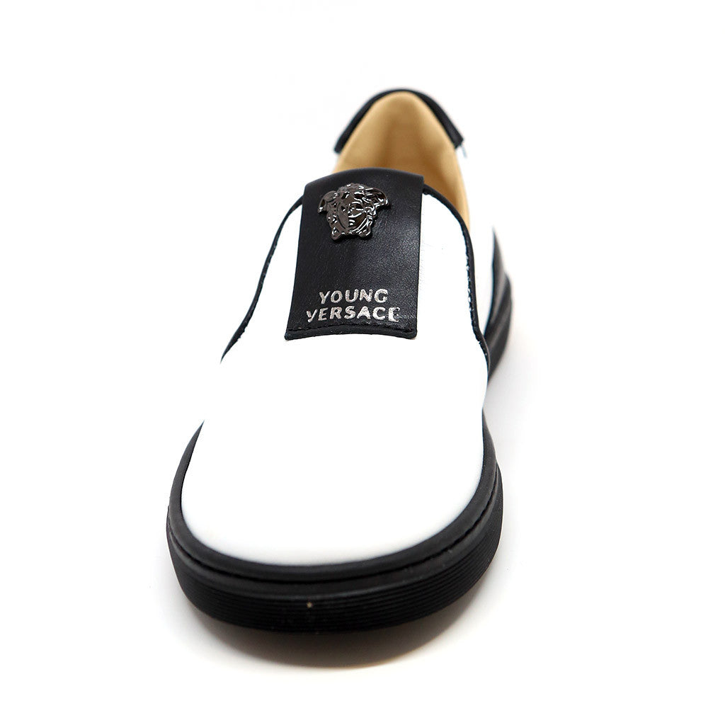 White Leather Loafers w/ Black Trim