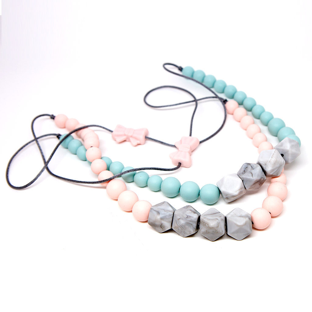 White Marble Silicone Teething Necklace - Pink