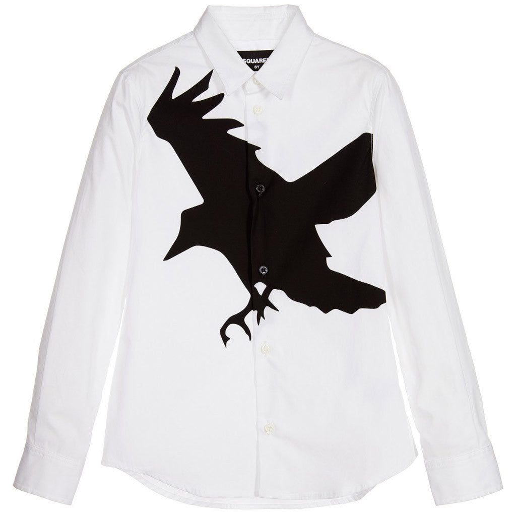 White Shirt with Black Bird Print