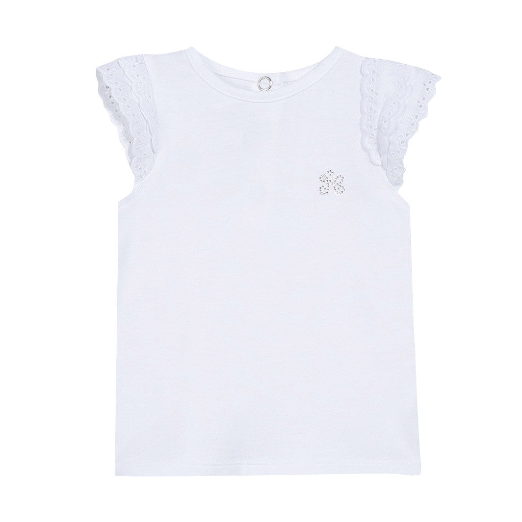 White T Shirt With Embroidery Occasion Kids