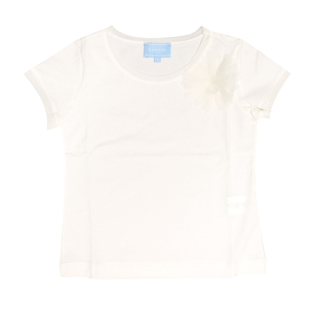 White T Shirt With Flower Detail Occasion Kids