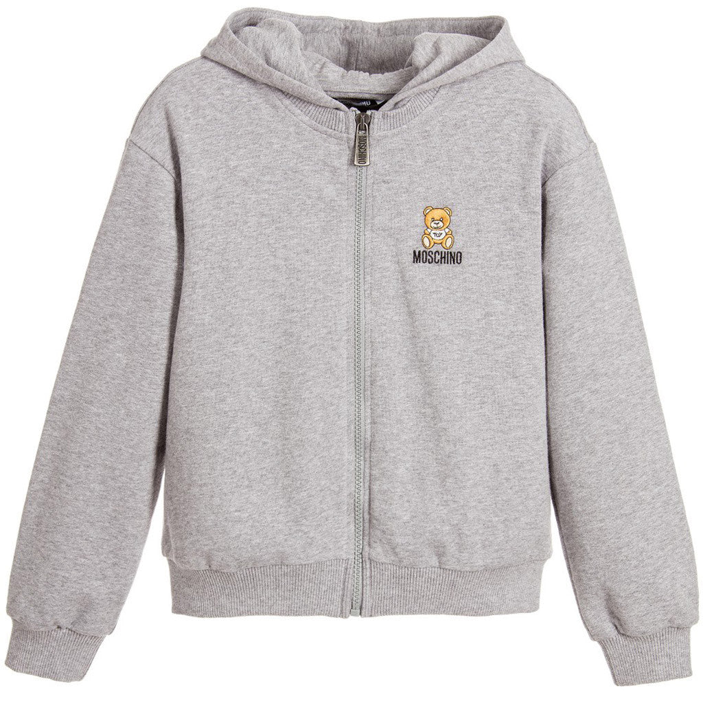 Zipper Sweat Top w Teddy Bear Logo on Front & Back Gray