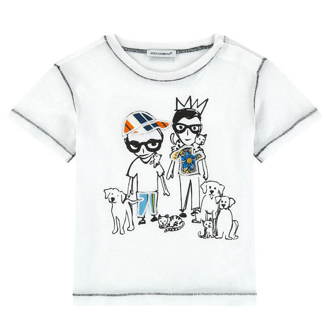 Mini Me White 'Domenico & Stefano' T-Shirt