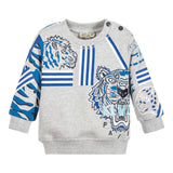 Baby Boys Gray 'Tiger' Print & Embroidery Sweatshirt