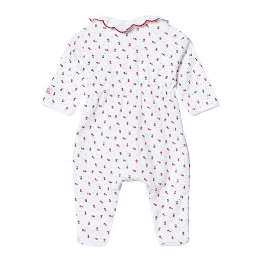 Baby Girl Red Floral Footie
