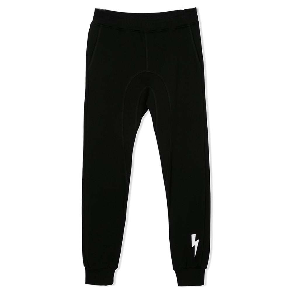 Black Lightning Bolt Black Sweatpants