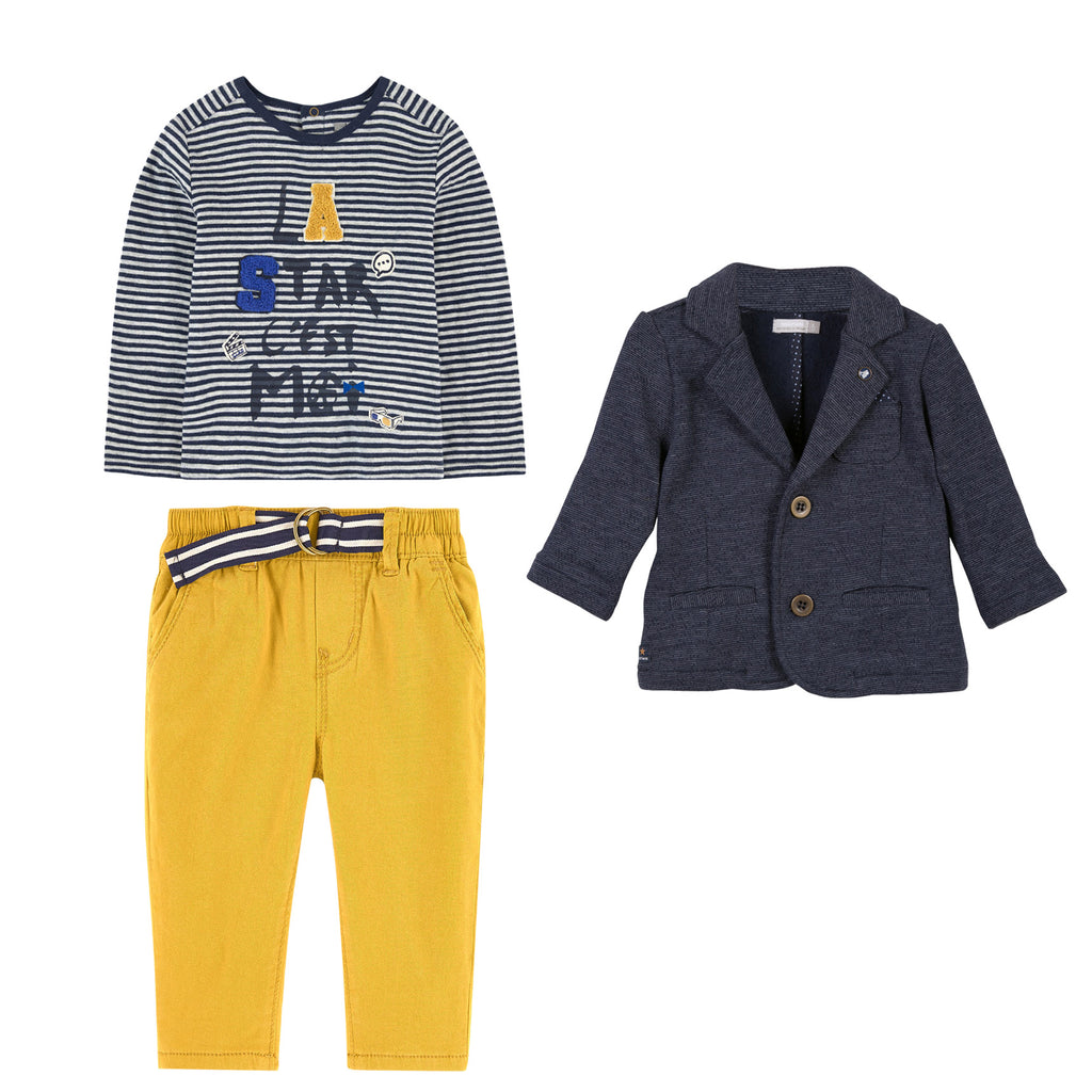 dcfb364cb Baby Boys Navy   Yellow 3 Piece Set – Occasion Kids
