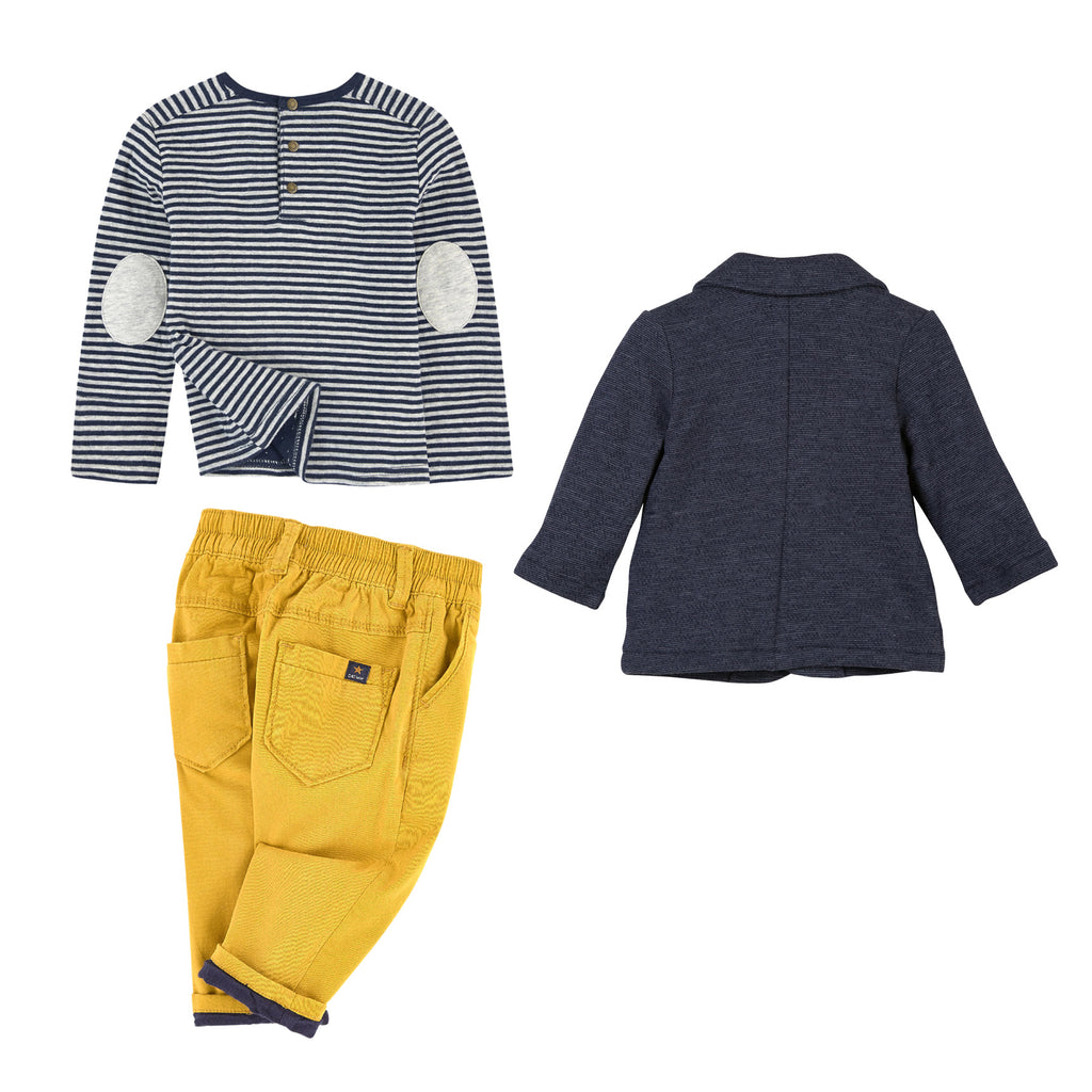 Baby Boys Navy & Yellow 3 Piece Set