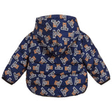 Baby Blue All Over Bear Print Jacket with Hood