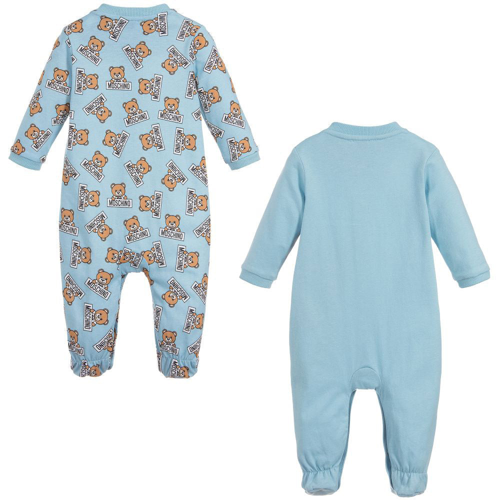 Baby 2 Pc Bear Print Footie Gift Set- Blue