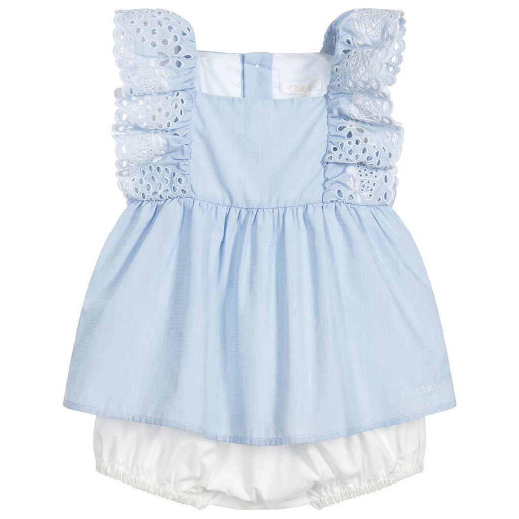 Baby Blue Embroidered Top & Shorts Set