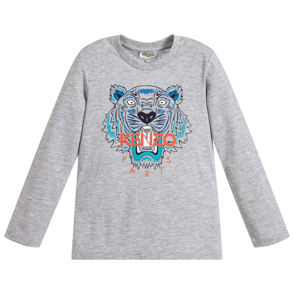 Gray Tiger Print Long Sleeve T-Shirt