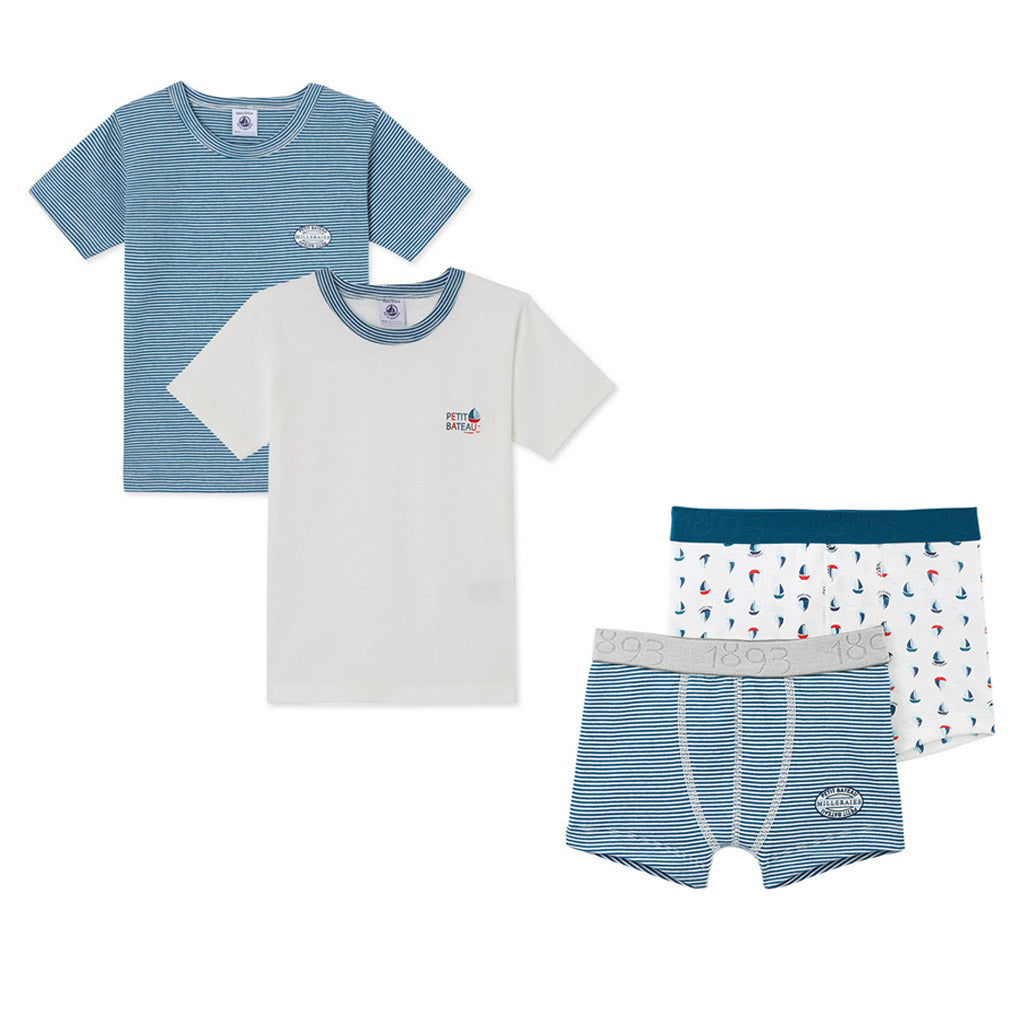 Boys 'Sailboat' T-shirt & Boxers Set
