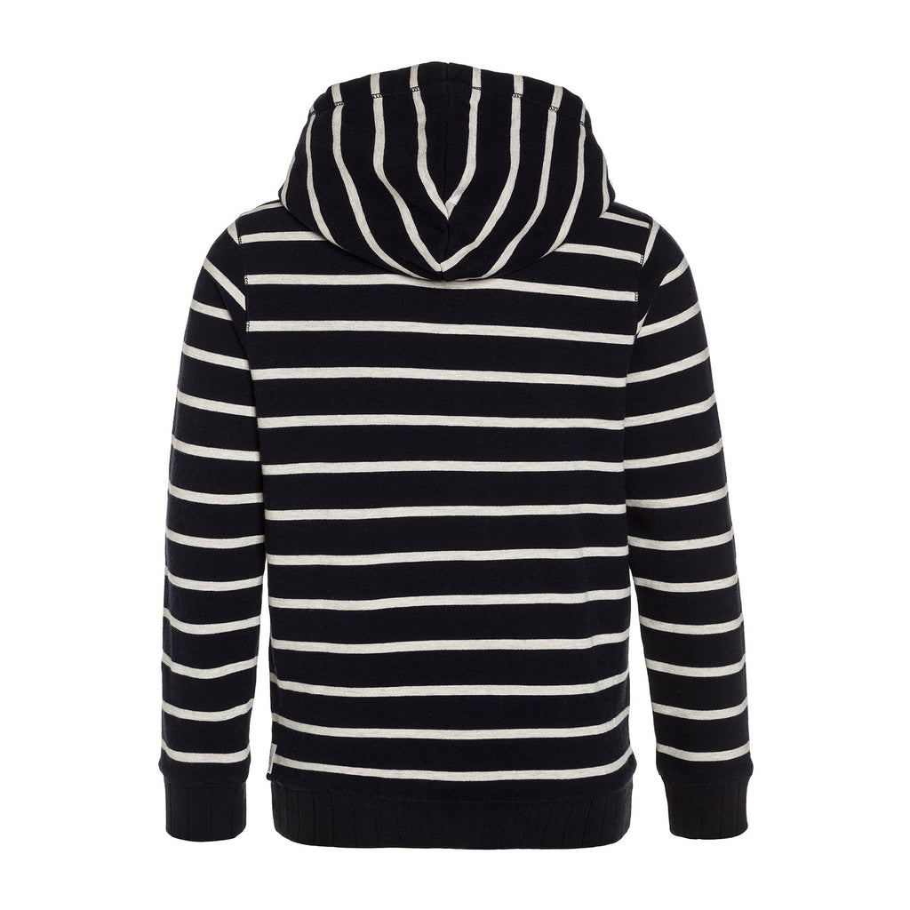Boys Navy & White Striped Hoodie