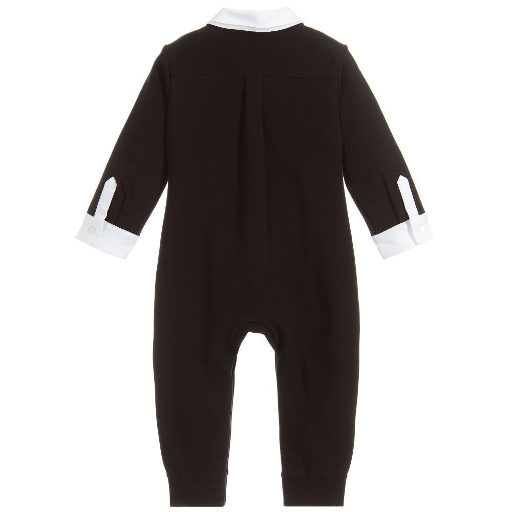 Baby Boys Black Tuxedo One Piece