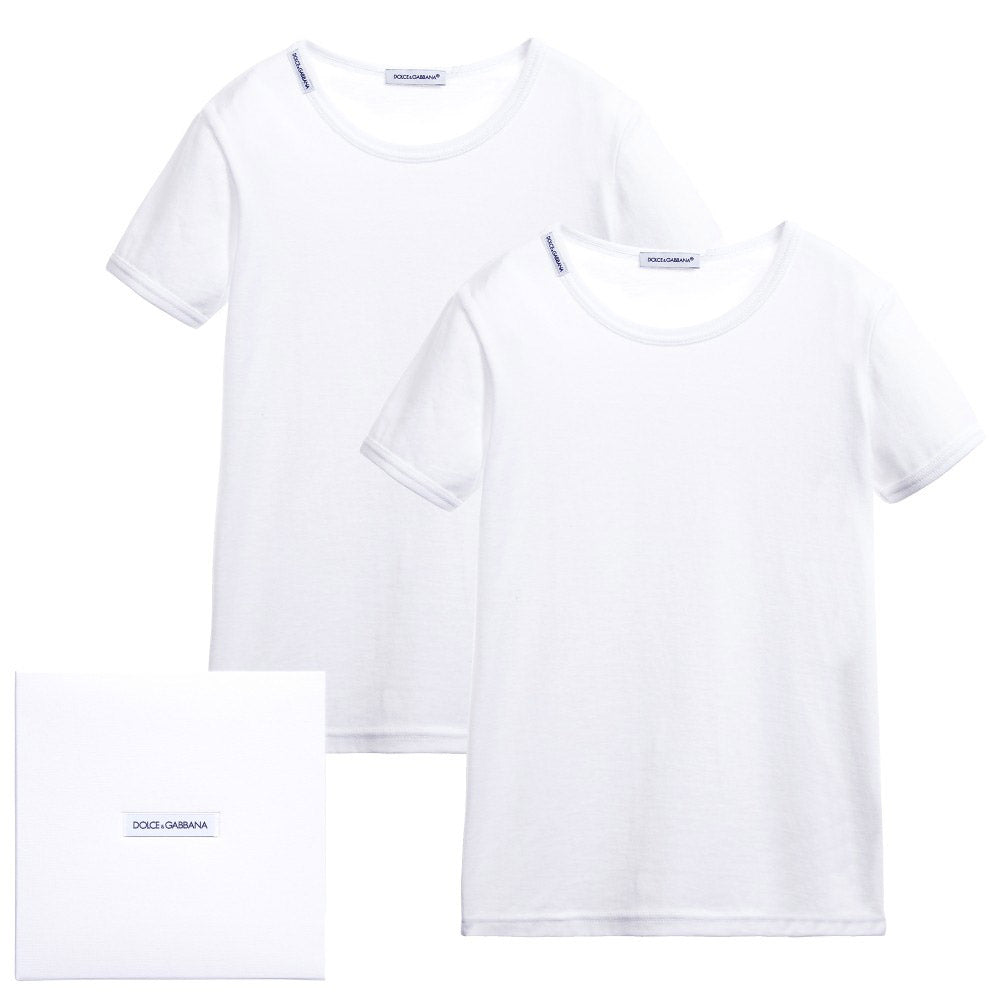 Boys 2 Pack T-Shirts Box Set- White