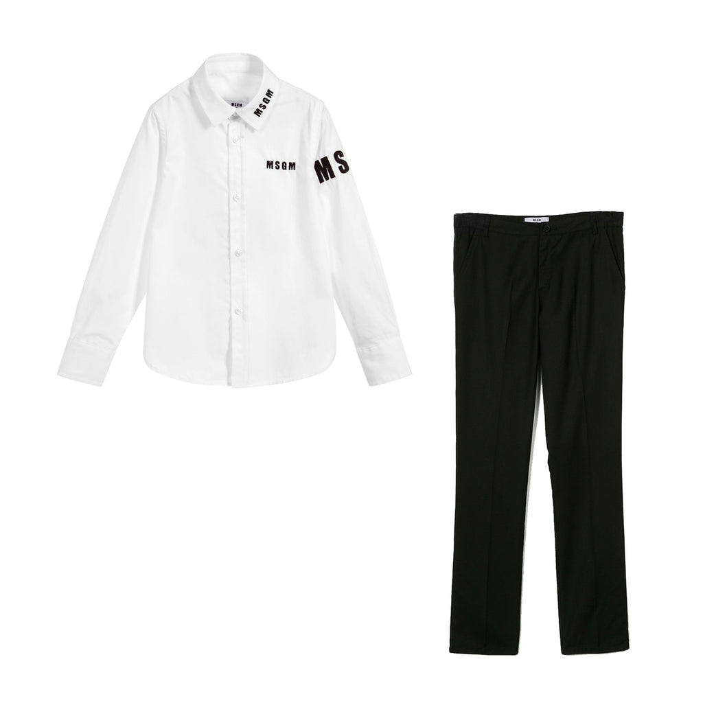 Boys 'Logo' Dress Shirt & Tailored Pants Set