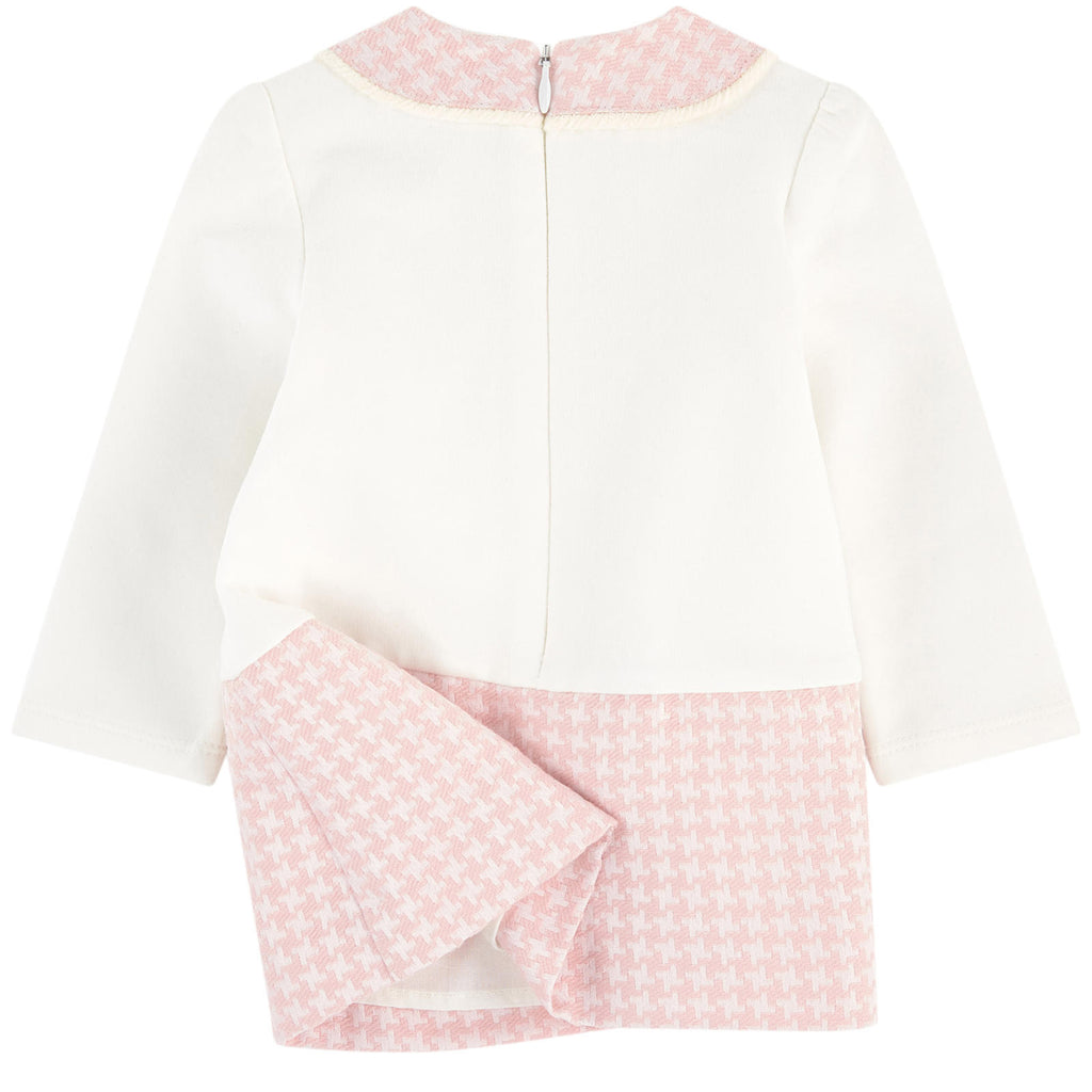 Baby Collared Pink Houndstooth Dress