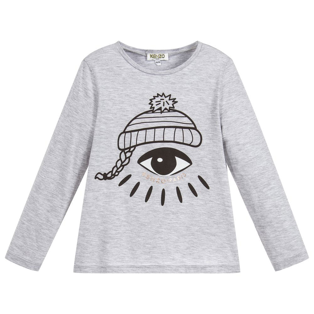 Girls Gray Eye Print Long Sleeve T-Shirt
