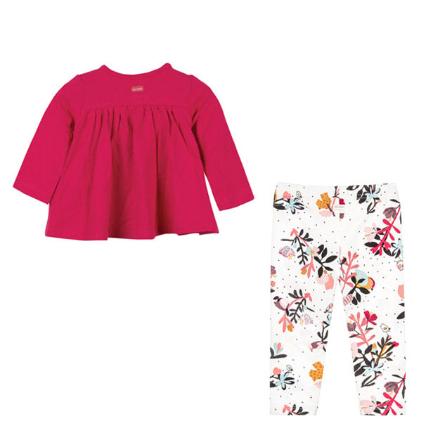 Baby Pink Top & Floral Leggings Set
