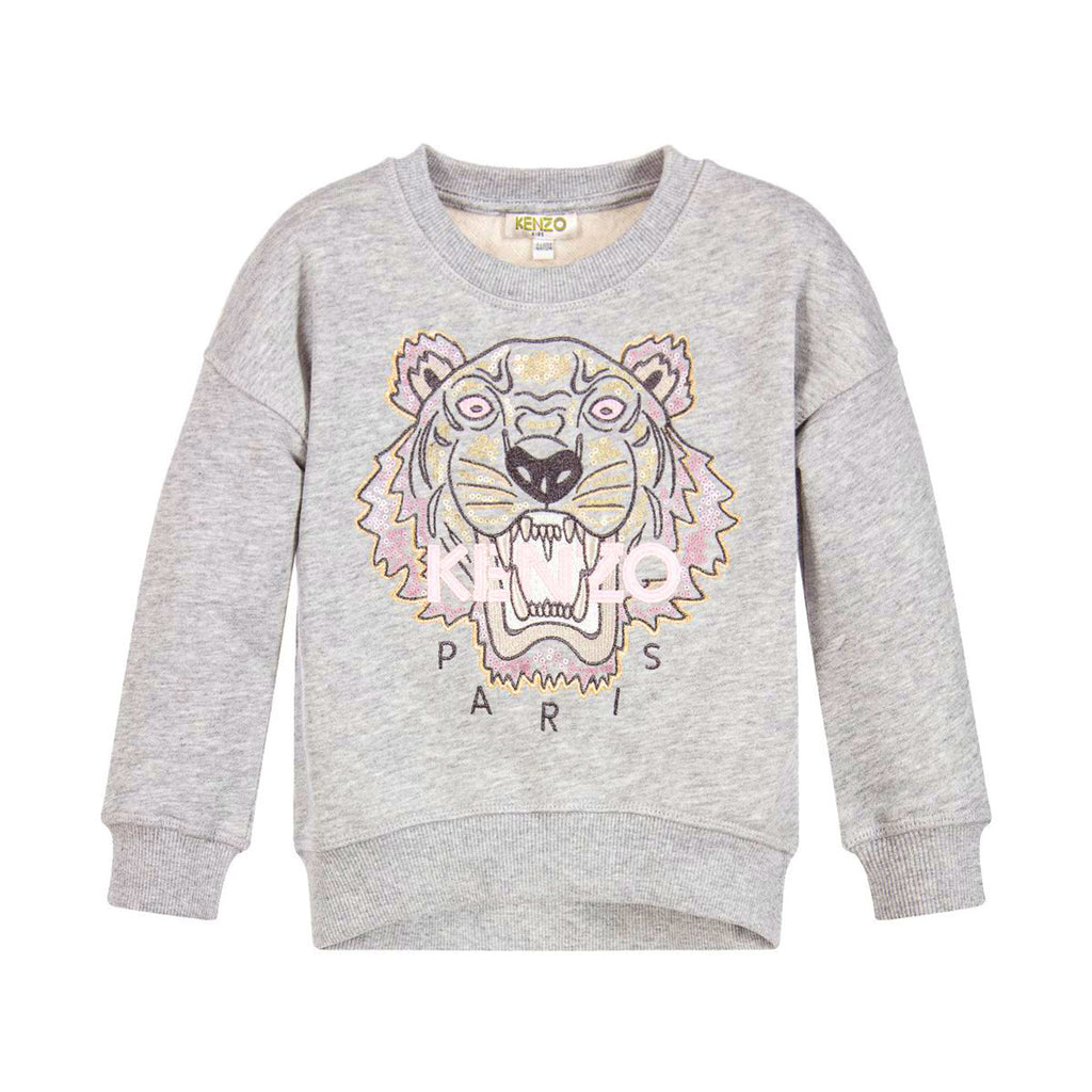 530a5a10 Girls Gray Sequin 'Tiger' Sweatshirt – Occasion Kids